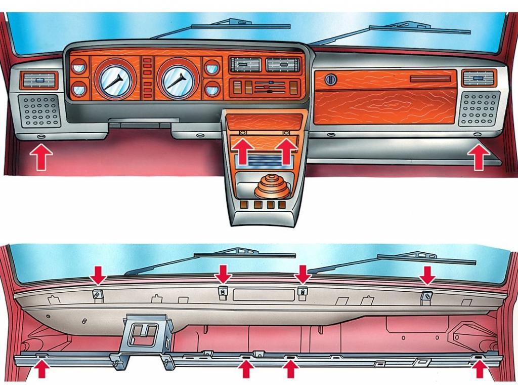 Точки крепления торпеды ВАЗ