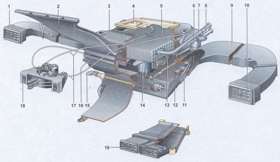 1 — левый воздуховод обогрева