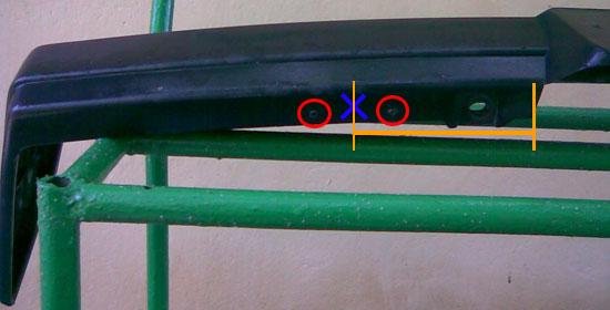 Разметка крепления противотуманок на бампере