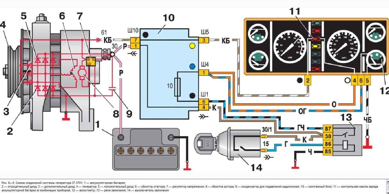 куда подключить лампу заряда генератора 3110
